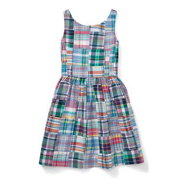 폴로 랄프 로렌 칠드런 패치워크 코튼 마드라스 드레스(CWPODRSG3M10235F70)