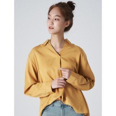 여성 머스터드 솔리드 풀오버 셔츠 (329864LY1G)