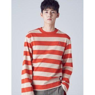남성 레드 볼드 스트라이프 라운드넥 티셔츠 (268841WY26)