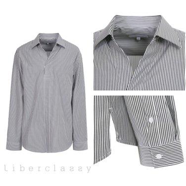 리버클래시(DJ) 블랙 스트라이프 튜닉 셔츠 LGS31423