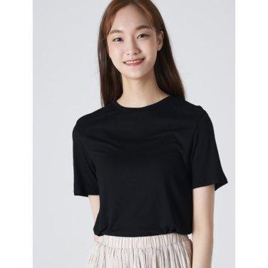 여성 블랙 베이직 라운드넥 반소매 티셔츠 (329742LY45)