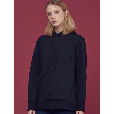 블랙 원포인트 루즈핏 후드 티셔츠 (BF8X41U015)