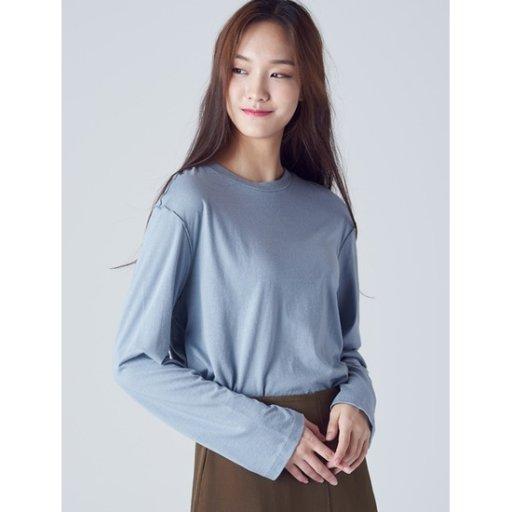 여성 스카이 블루 절개 라인 모달 티셔츠 (158841TY1Q)