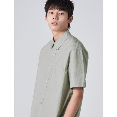 남성 그레이 솔리드 베이직 포켓 반소매 셔츠 (429765EY13)