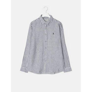 19SS  [SLIM] 네이비 리넨 스트라이프 셔츠(BC9364A30R)