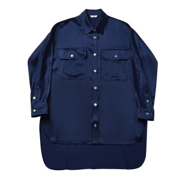 Long tail silk shirt 005 Navy