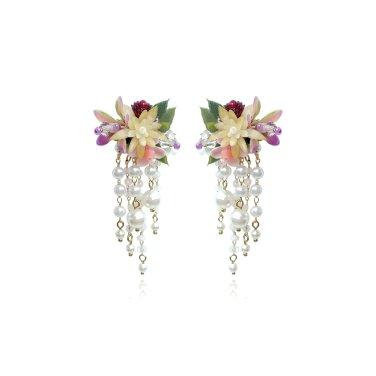 [피버리쉬] FLOWER BLAST SMALL TASSEL BURGUNDY EARRINGS (FB3E6)