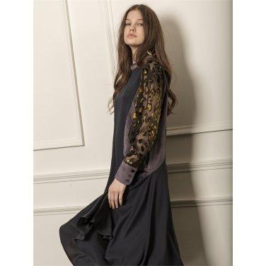 [까이에] Color block voluminous sleeves dress