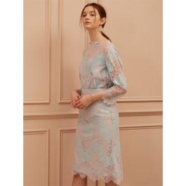 [까이에] Two-tone Lace midi skirt
