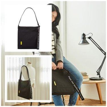 에코백 AZ001017 블랙 PLUME BASIC 남여공용 크로스백 순면 포인트 가방