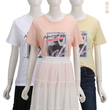 앞판 그래픽 면슬럽 티셔츠ZW9ME3030