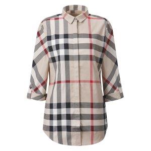 버버리 여성 스트레치 코튼 체크 셔츠
