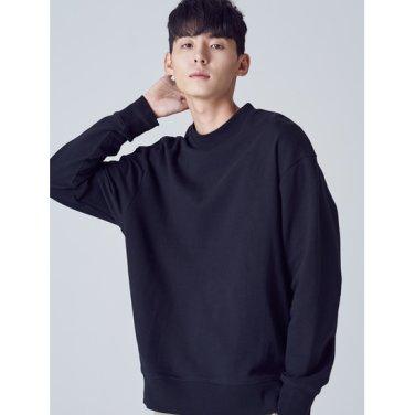 남성 [LAB8] 블랙 베이직 오버사이즈 스웨트 셔츠 (458841TY15)