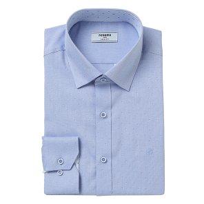 블루 도트 카라배색 스냅버튼 슬림핏 셔츠RKSSL0108BUIL