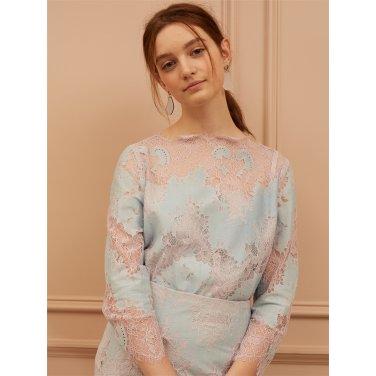 [까이에] Two-tone Lace blouse