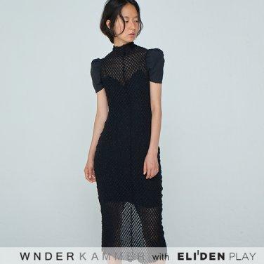 [분더캄머:WNDERKAMMER] 20SS Curved Arm Coloration Dress Black (WK0S4-CCOP020)