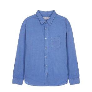 라움맨 [OFFICINE GENERALE] 블루 단색 면 긴팔캐주얼셔츠-RASH0EOG2B2