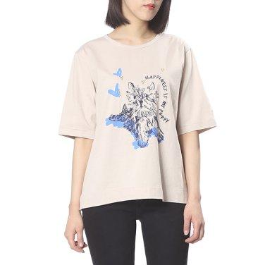 퍼피 일러스트 프린팅 티셔츠 HSTS9B432