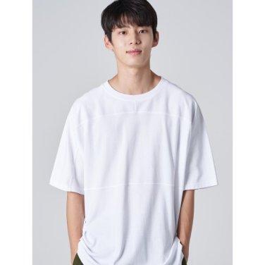 남성 화이트 코튼 절개 라인 반소매 티셔츠 (269742EY21)