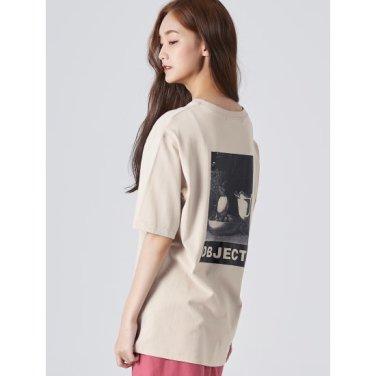 여성 베이지 20수 코튼 전사 프린팅 라운드넥 티셔츠 (169742HY1A)