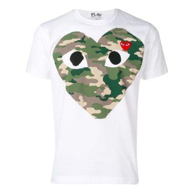 19SS 꼼데가르송 빅카모 하트 티셔츠 화이트 T244