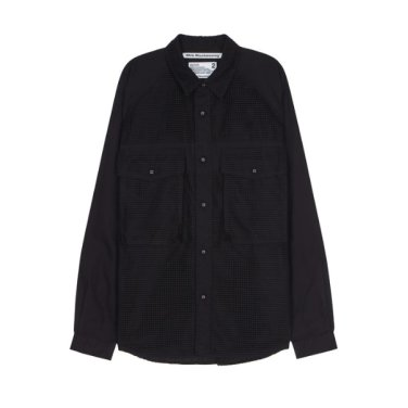 WHITE MOUNTAINEERING 포켓배색 면혼방 긴팔캐주얼셔츠 -RASH9F104BK