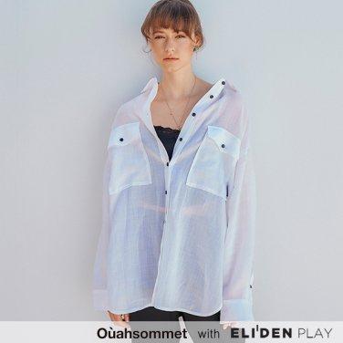 [우아솜메] Ouahsommet Linen Peekaboo Shirts_WH (OBFSH003A)
