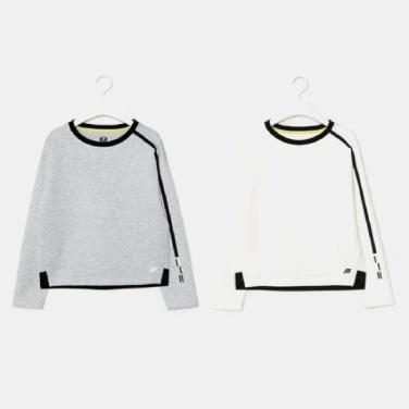 여성 테크플리스 배색 티셔츠 (BO9941E01)