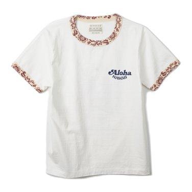SUN SURF Ringer T-Shirts King Kamehameha Off White