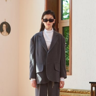 OVERSIZE TWO BUTTON SET JACKET (GRAY)