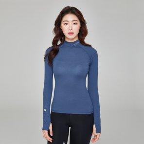 모디 하이넥 티셔츠 UNA3403-DRBL