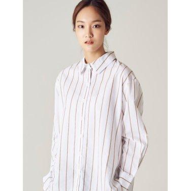 여성 화이트 투컬러 핀 스트라이프 셔츠 (328764CY21)