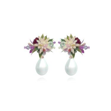 [피버리쉬] FLOWER BLAST SMALL DANGLE BURGUNDY EARRINGS (FB3E4)