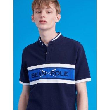 네이비 컬러 블록 빅로고 헨리넥 티셔츠 (BC9342A38R)