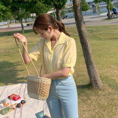 메리 카라 블라우스/도트/데이트룩/여름/시원한/면/루즈핏(C905PABL44)