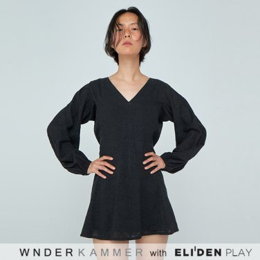 [분더캄머:WNDERKAMMER] 20SS Shirring Sleeve Mini Dress Black (WK0S3-SSOP010)