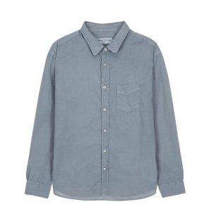 라움맨 [OFFICINE GENERALE] 그레이 단색 면 긴팔캐주얼셔츠-RASH0EOG42G2