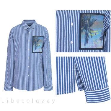 리버클래시(DJ) 블루 씨어써커 스트라이프 루즈핏 셔츠 LGS31421