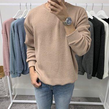 남성 데일리 오버핏 골지 맨투맨 티셔츠_T0412