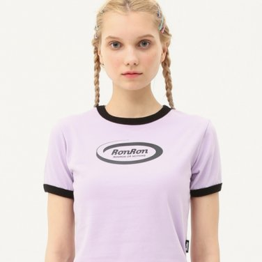 Ringer circle logo crop T-shirts light purple