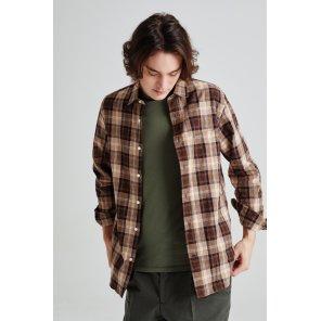 라움맨 [OFFICINE GENERALE] 브라운 체크 면 긴팔캐주얼셔츠-RASH0EOG4