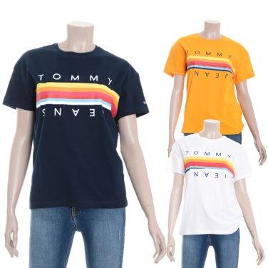 여성 코튼 스트라이프 로고 반소매 티셔츠 TUMT1KOE10D0