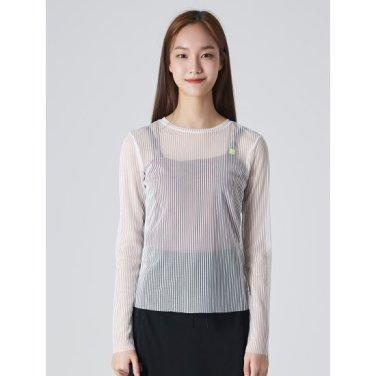 여성 화이트 시스루 스트라이프 티셔츠 (119741BYD1)