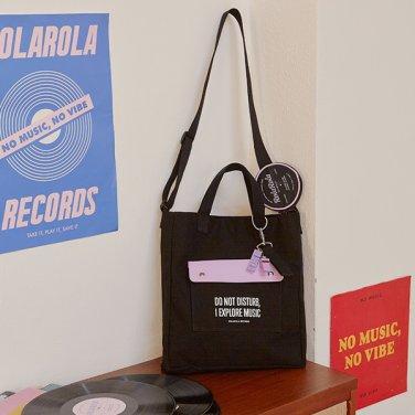 (BG-19501) WHISTLE KEY RING CROSS BAG BLACK