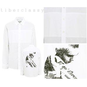 리버클래시(DJ) 화이트 등판 아트웍프린트 면 오버핏 셔츠 LFW31361