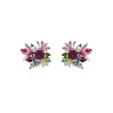 [피버리쉬] FLOWER BLAST SINGLE BURGUNDY EARRINGS (FB3E2)