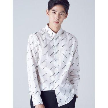 남성 화이트 레터링 포켓 셔츠 (218864WY61)