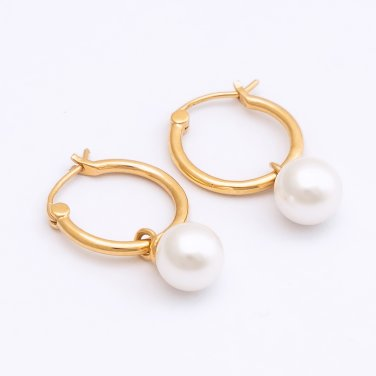7mm White Shell Pearl Hoop Earrings (HB19E1267A)