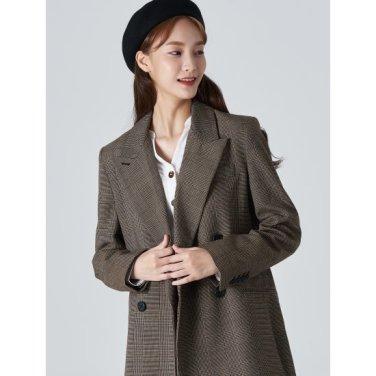 여성 브라운 글렌체크 더블 버튼 재킷 (329811LY8D)