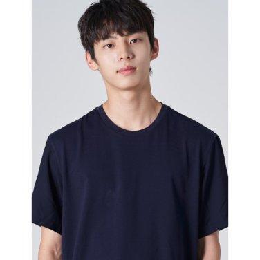 남성 네이비 베이직 우븐 슬릿 반소매 티셔츠 (219742BY9R)